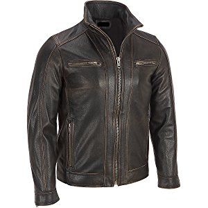 816f7c203 Superior Leather Garments - Men's Black Rivet Faded Seam Leather ...