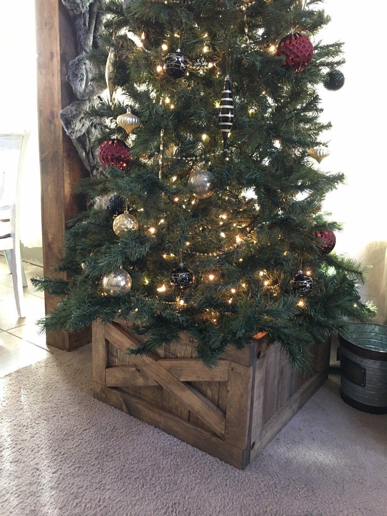 Christmas Tree Box Tree Skirt Alternative Wood Tree Box Collapsible Tree Skirt Christmas Tree Box Christmas Tree Porch Christmas Tree