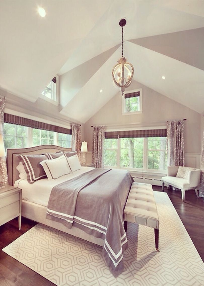 High Ceiling Bedroom Design with Gray Color