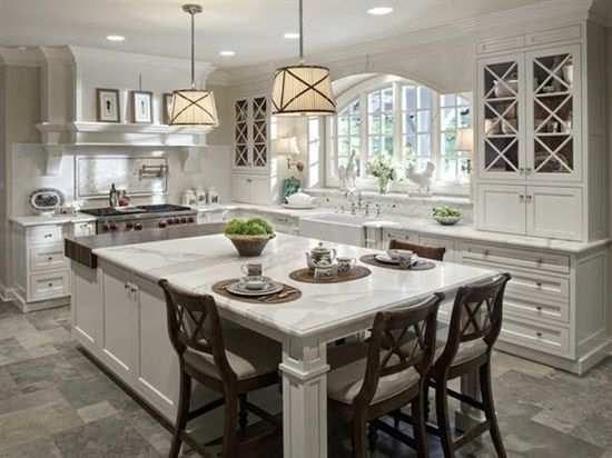 transitional kitchen with traditional pendant lights | Ideas para el ...