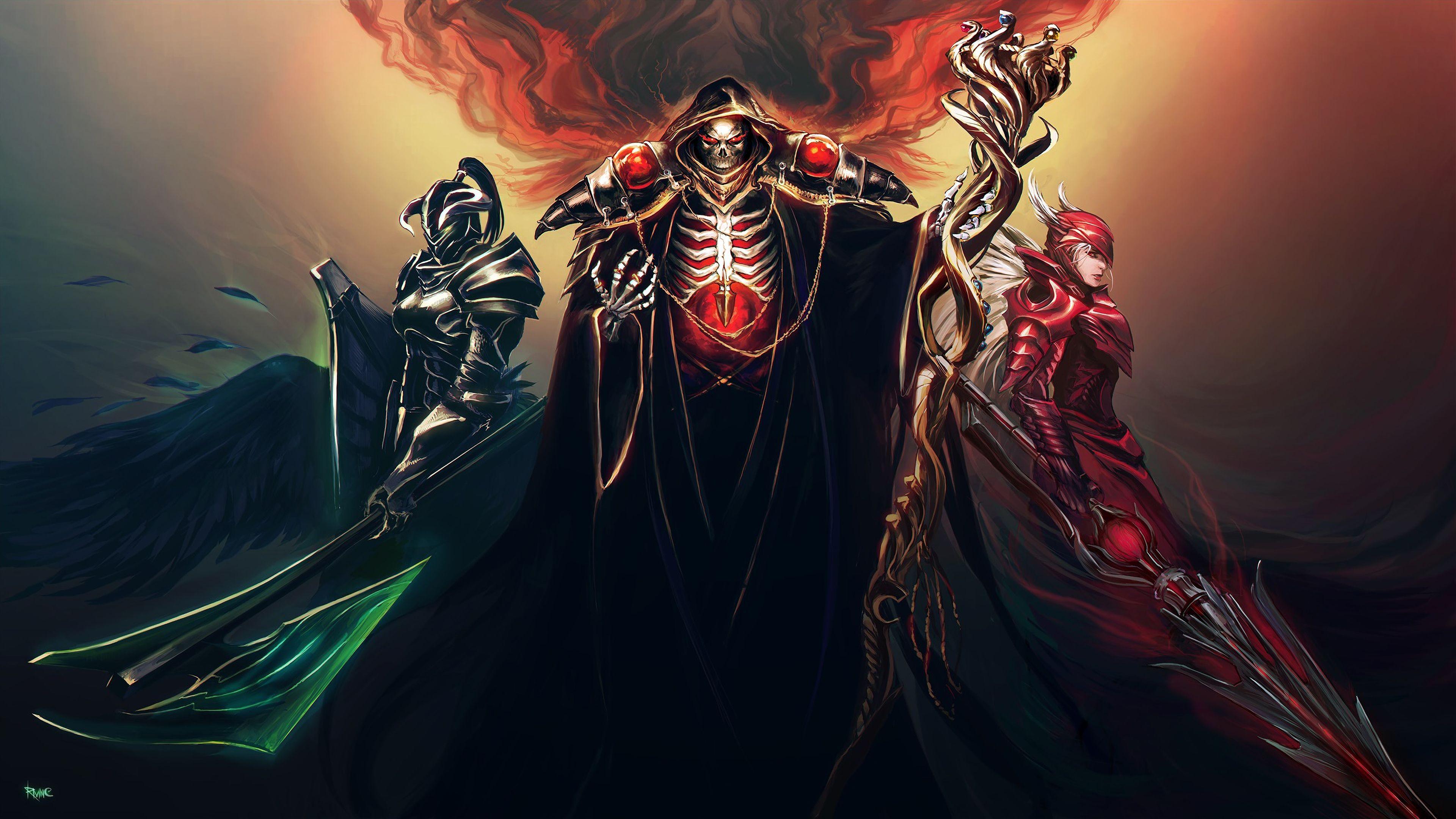 Overlord Anime Ainz Ooal Gown Albedo Shalltear Bloodfallen Knight 3840x2160 Wallpaper Albedo Anime Anime Fanart
