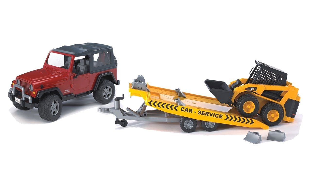 Bruder Toys Jeep Wrangler W Tow Trailer Cat Skid Steer 02923 Towing Trailer Jeep Wrangler Jeep