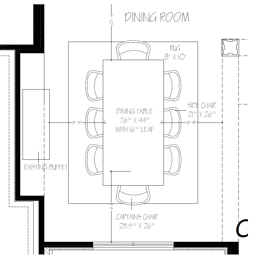 Dining Room Furniture Layout With 8 X 10 Rug