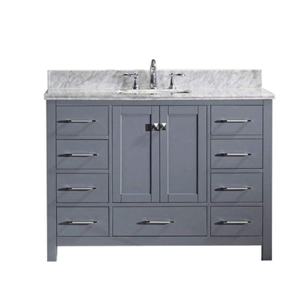 Caroline Avenue 48 Inch Single Vanity In Grey With Marble Top