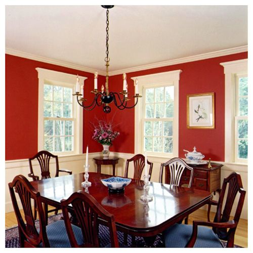 dining room with cream wainscoting and red walls vermont rh pinterest com