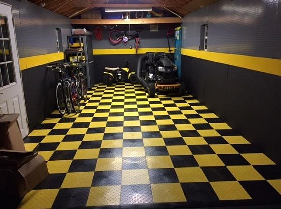 Black And Yellow Snap Together Garage Flooring Tiles Ideas Floor Design Trends