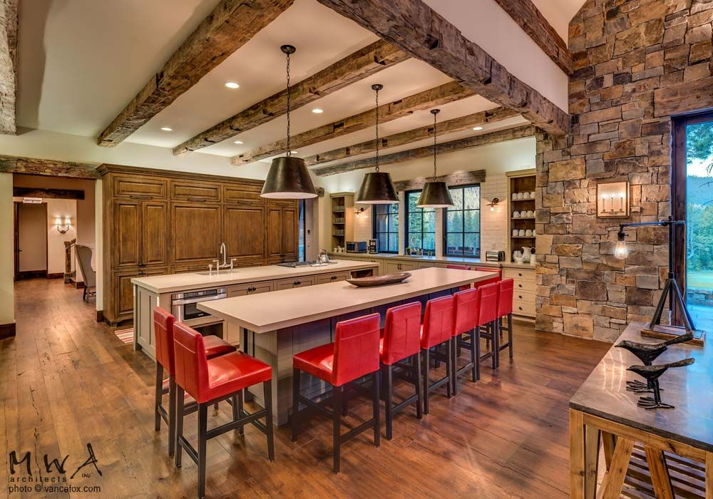 Martis Camp kitchen reclaimed wood beams stone