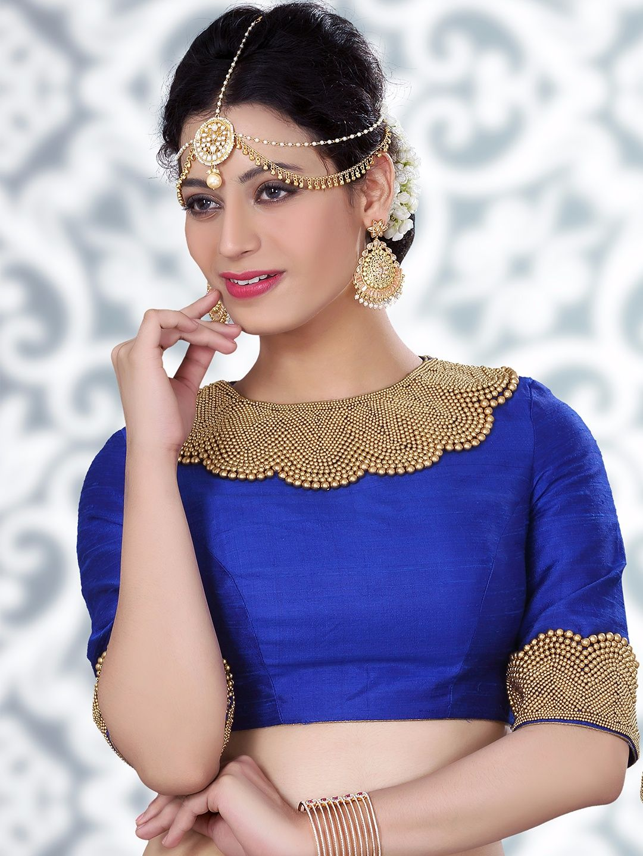 82de53f688e02b Beautiful Blue Raw Silk Ready Made Blouse For price or detail do whatsApp + 91-9913433322