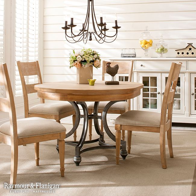 What's better than this new Hope Isle dining set? Several versions of it! This is the round table, but we also have a rectangle table with fabric-back chairs.