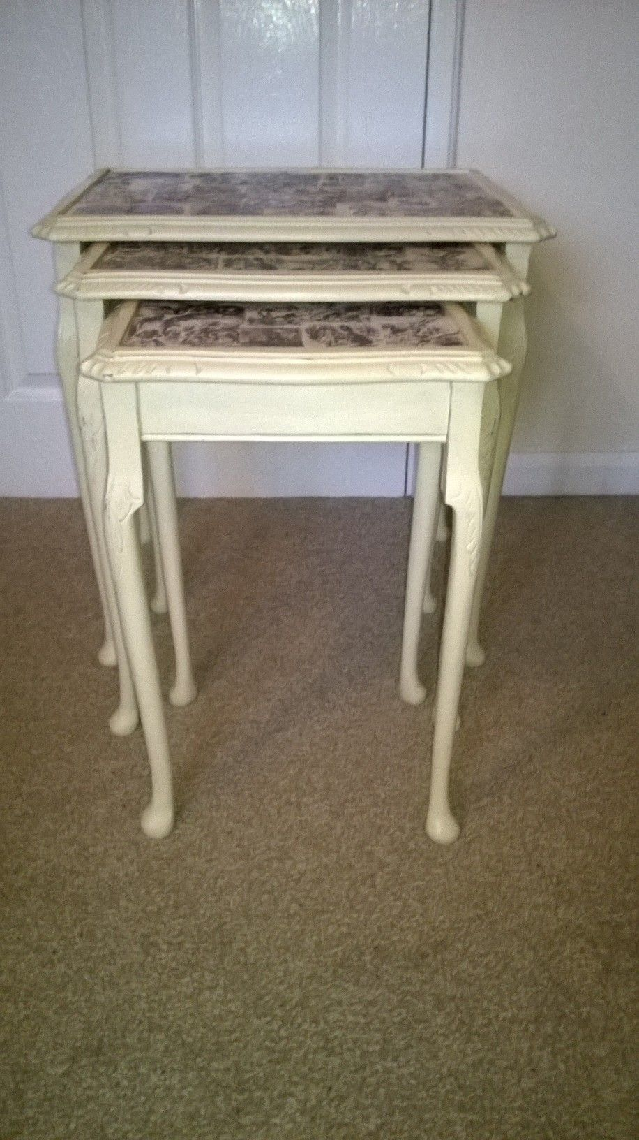 looking glass alice inspired nest of 3 tables decoupage table tops rh pinterest ca