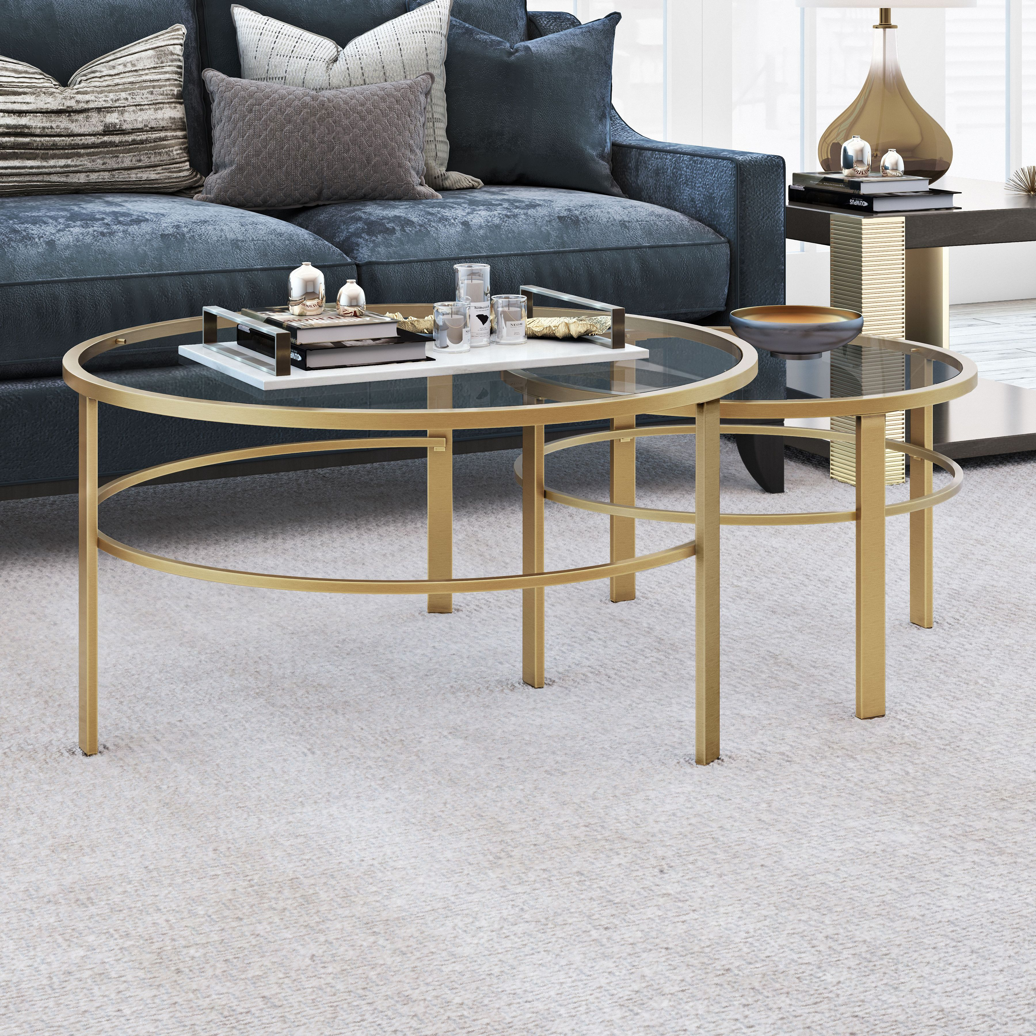 Gaia Round Nesting Coffee Tables In Gold Metal And Tempered Glass