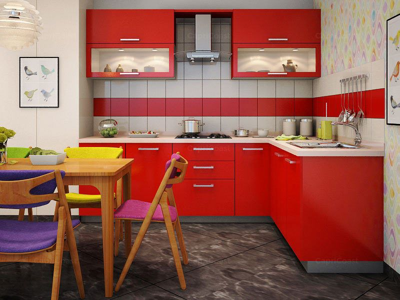 Peppy L shaped Modular Kitchen Red Pearl 16