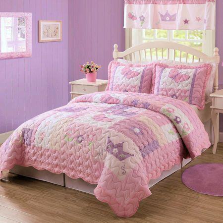Pink Purple Princess Crown Bedding Twin Full Queen Quilt Set