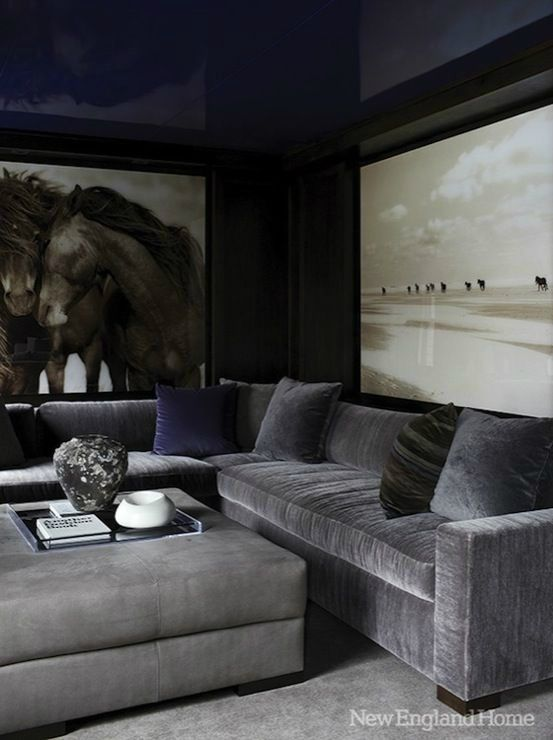 Masculine Living Roomhigh Gloss Deep Blue Ceiling Oversized Photography Gray Velvet Sectionalexquisite