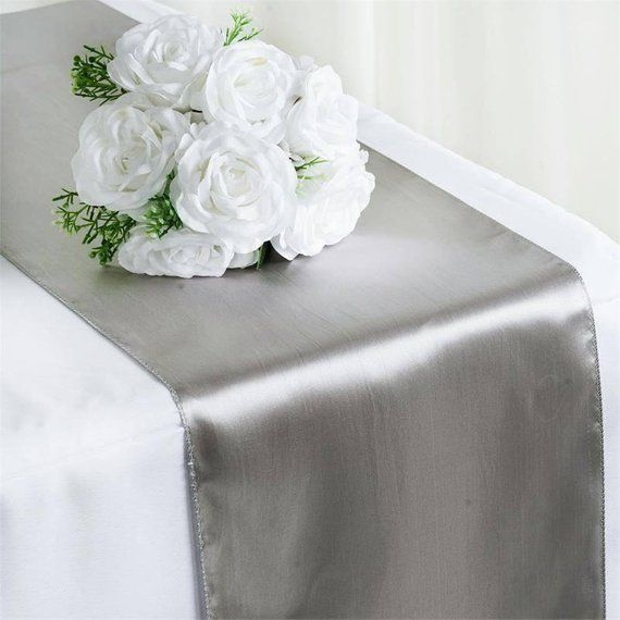 Satin Table Runner Silver 12 X 108 Inches In 2020 Wedding Table Silver Table Lace Table Runners