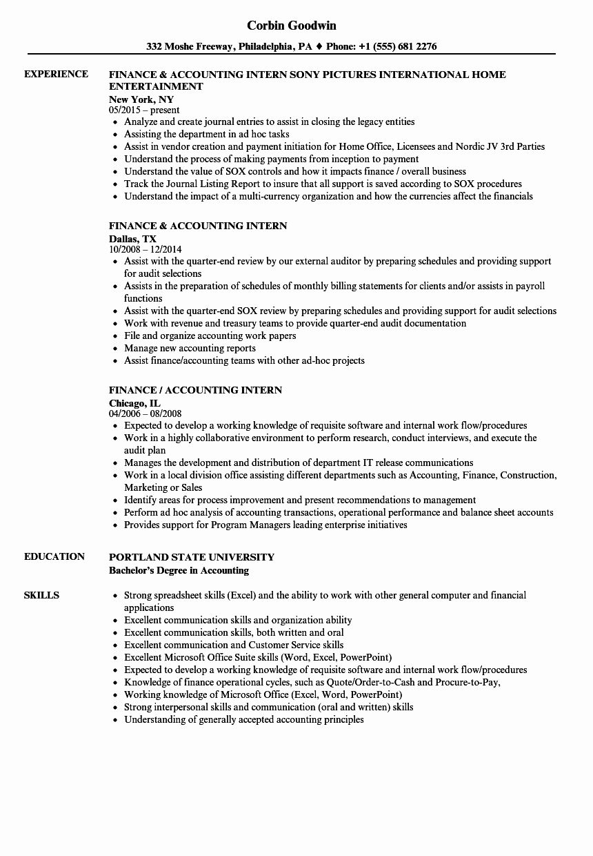 Business Analyst Intern Resume Best Of Accounting Student