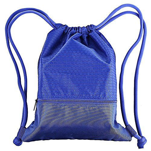 Esvan proof Gymbag Large Drawstring Backpack Gymsack Sackpack For Sport Traveling Basketball Yoga RunningBlue * Read more reviews of the product by visiting the link on the image.Note:It is affiliate link to Amazon.