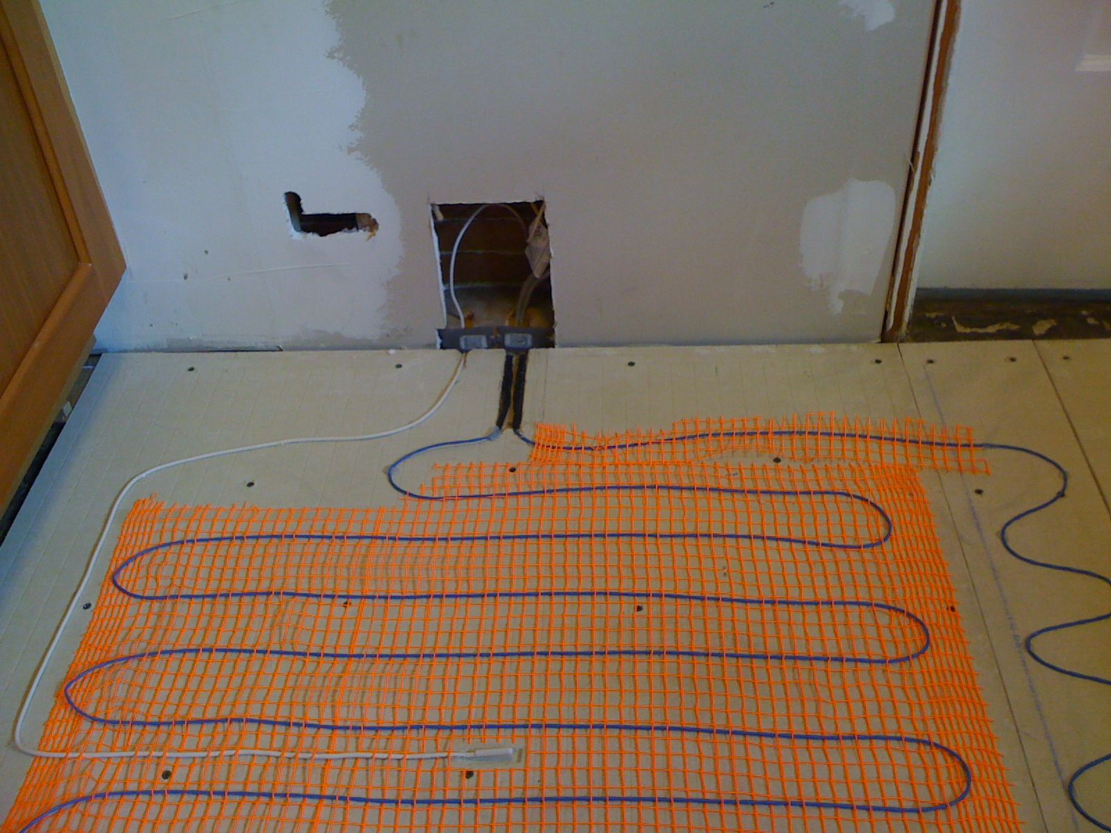Kitchen DIY heated floor and new tile Kitchens
