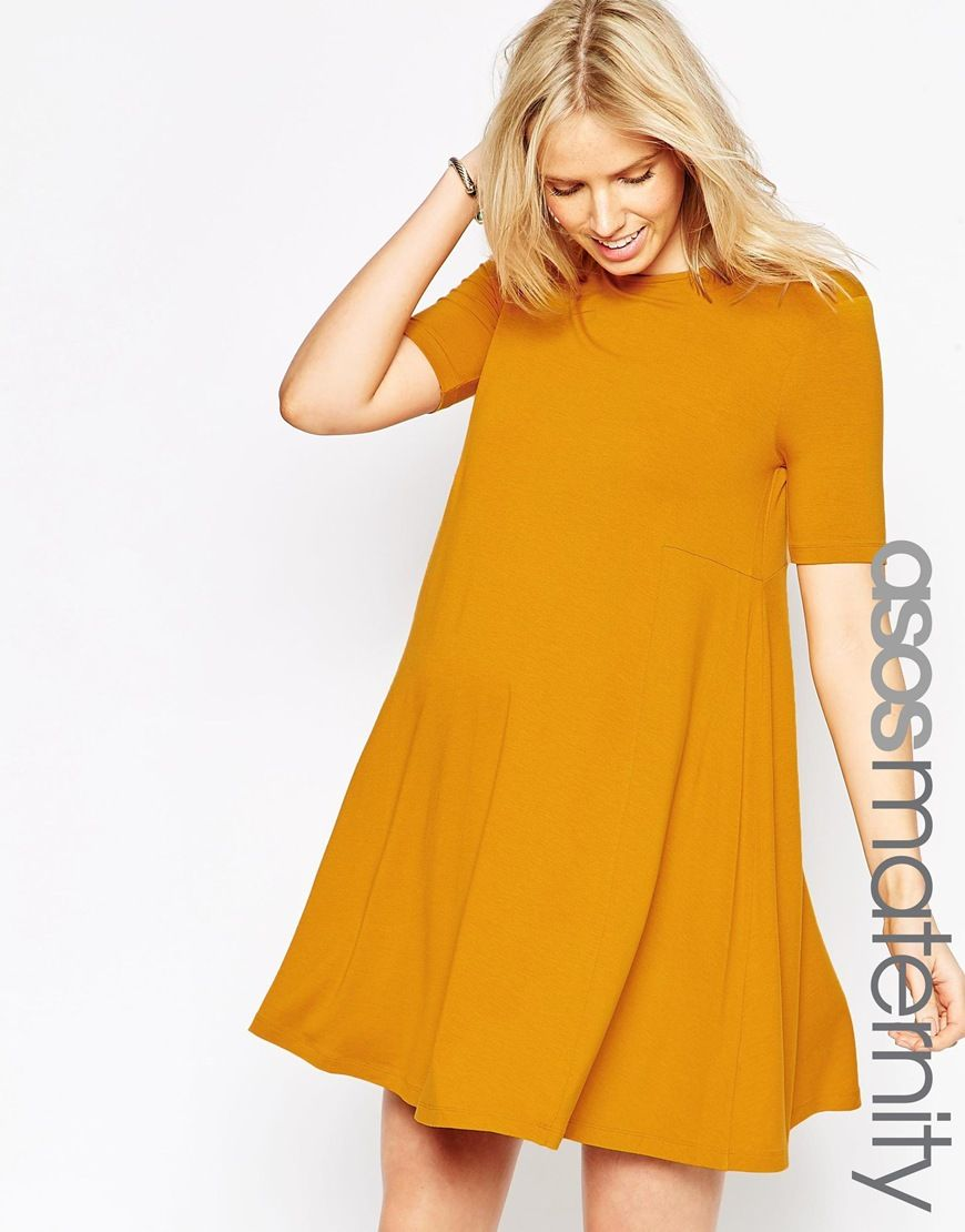 Image 1 of asos maternity swing dress with seam detail and short image 1 of asos maternity swing dress with seam detail and short sleeves ombrellifo Images