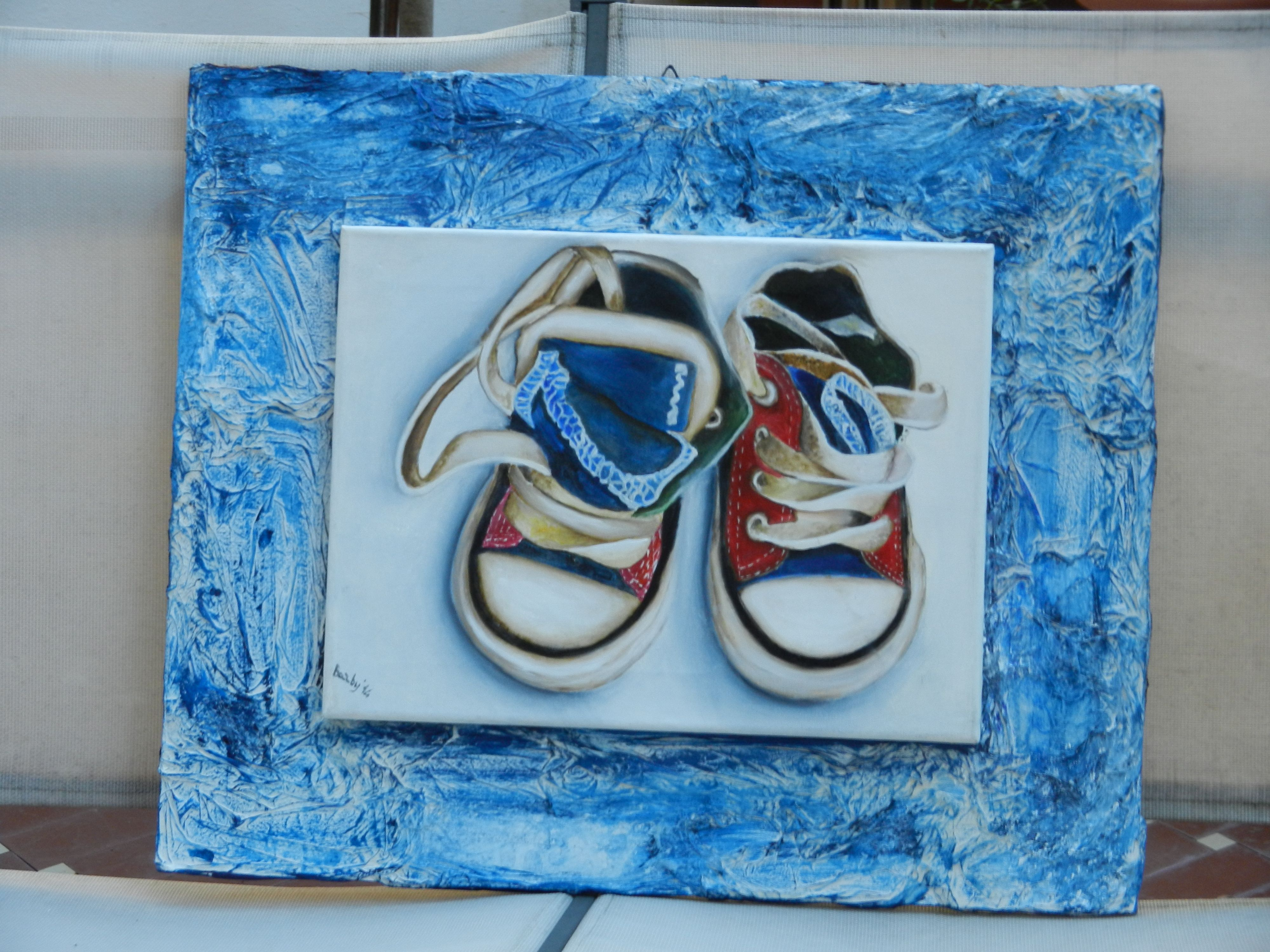 Cornici bambini ~ Scarpette da bambino pittura ad olio su tela cornice realizzata