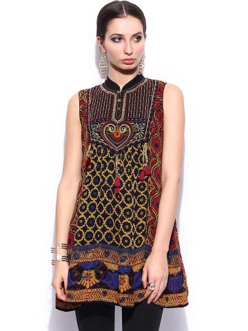 Ritu Kumar Women Multicoloured Embroidered Kurti Ritu Kumar