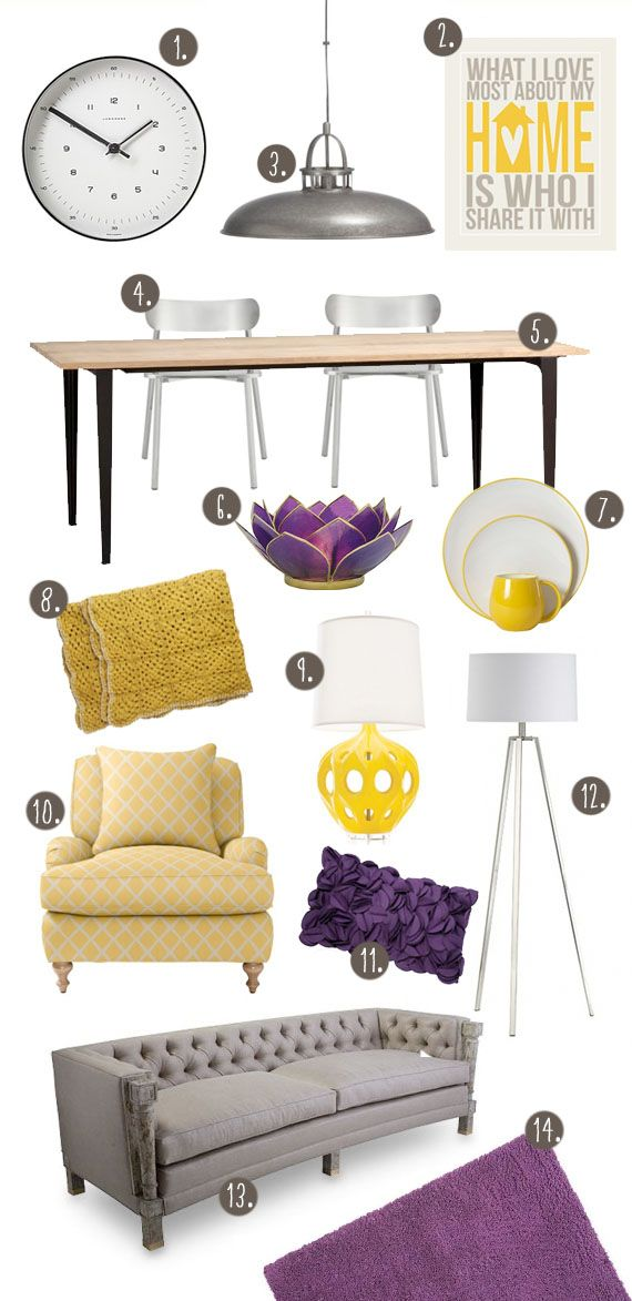 Yellow and purple living dining room theme for the home - Purple and grey living room accessories ...