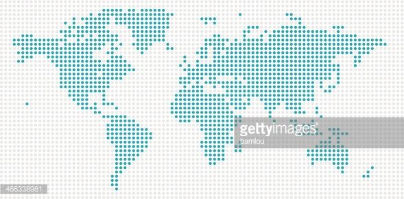 vector of world map made out of blue dots on grey background