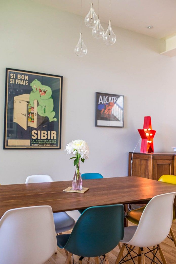A Mid Century Modern dining room in Montral