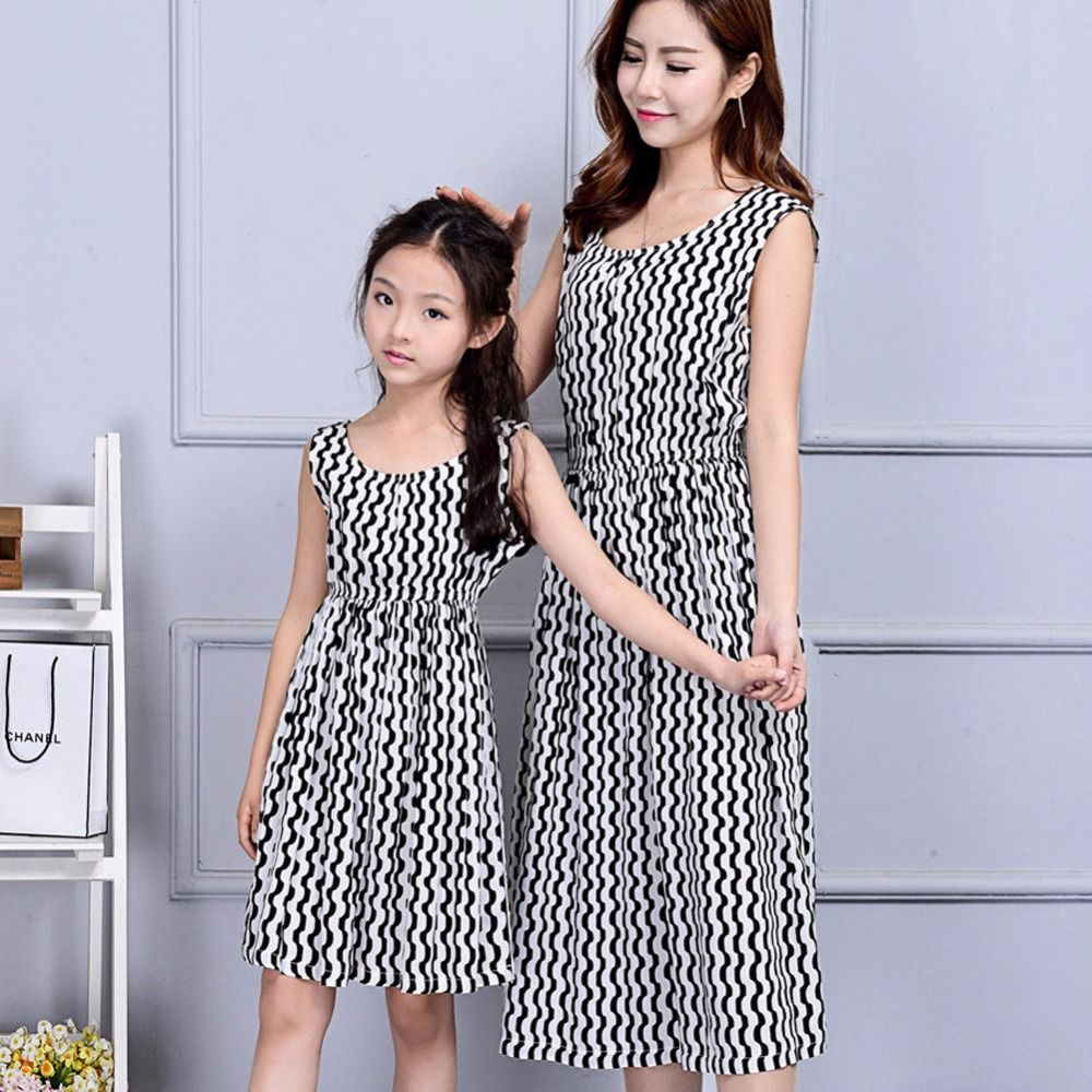 3c7313de8b7fb Click to Buy << Fashion mom and kids couple look stripe family ...