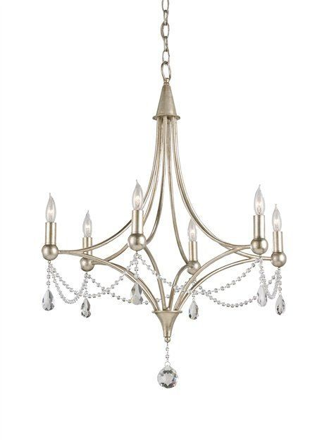 Currey and Company 9831 Chinois Antique Silver Leaf Etiquette 6 Light 1 Tier Chandelier - LightingDirect.com#antique #chandelier #chinois #company #currey #etiquette #leaf #light #lightingdirectcom #silver #tier