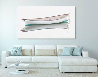 White Rowboat Large Canvas Art Boat Panorama Photography