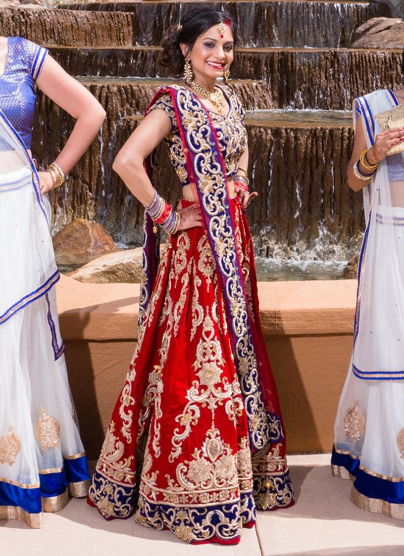 Image Result For Indian Wedding Reception Lengha Blue And Red