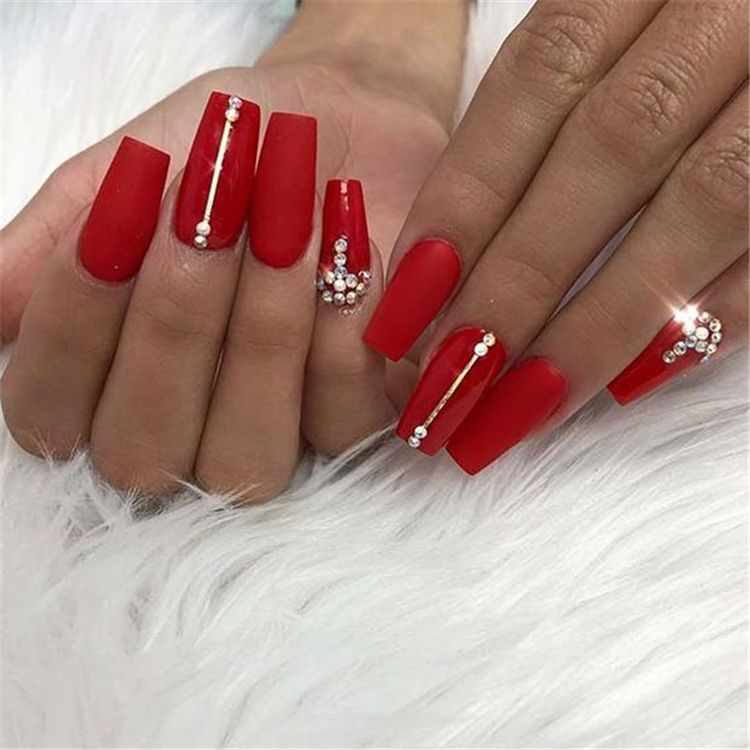 45 Hottest Red Long Acrylic Coffin Nails Designs You Need To Know Page 39 Of 45 Cute Hostess For Modern Women In 2020 Red Acrylic Nails Red Nails Rhinestone Nails