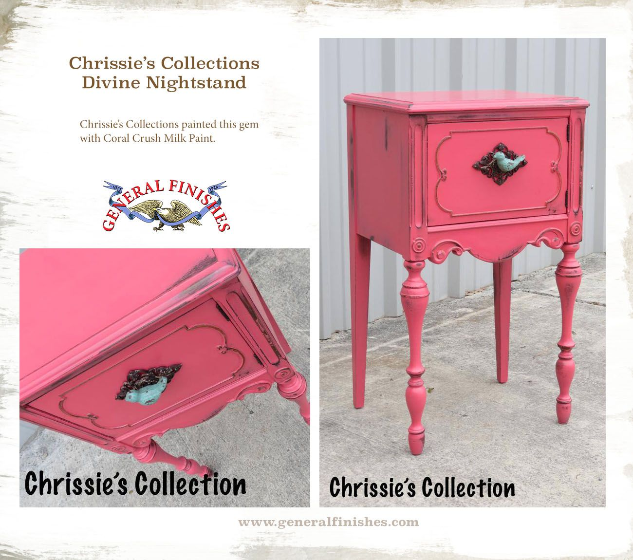 Chrissie S Collection Www Chrissiescollection Com Used General Finishes Coral Crush Milk Paint Crate Furniture Diy Nightstand Makeover Painting Old Furniture