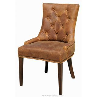 Antique Brown Accent Leather Dining Chair Interior Designers