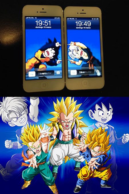 Theres One Thing Only Dragon Ball Z Fans Would Do With Their Phones And Thats Setting The Wallpaper Of Two Handsets As Fusion Goten Trunks