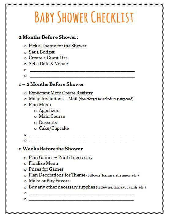 Baby Shower Checklist  Plan Your Event  Baby Shower Checklist