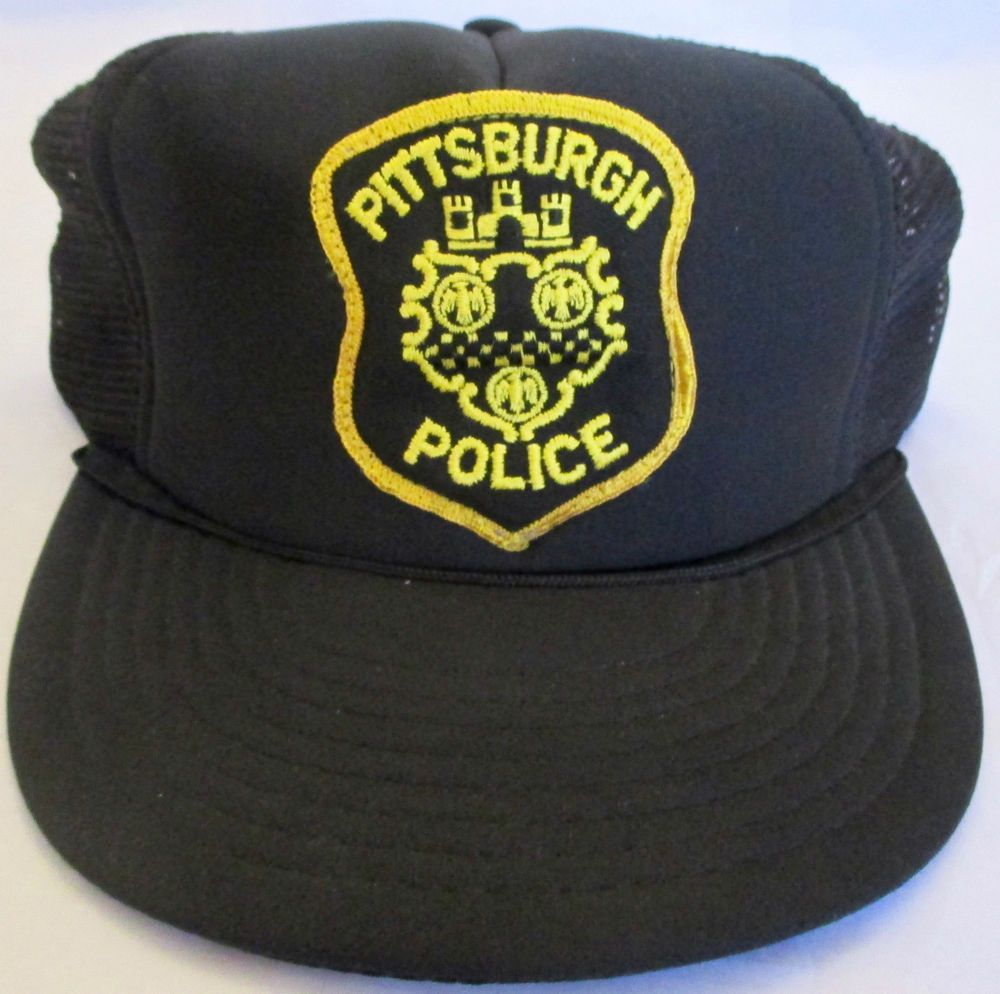651cb70c02ec7 Vintage Pittsburgh Police Black Yellow Trucker Snapback Hat Cap New  Cap