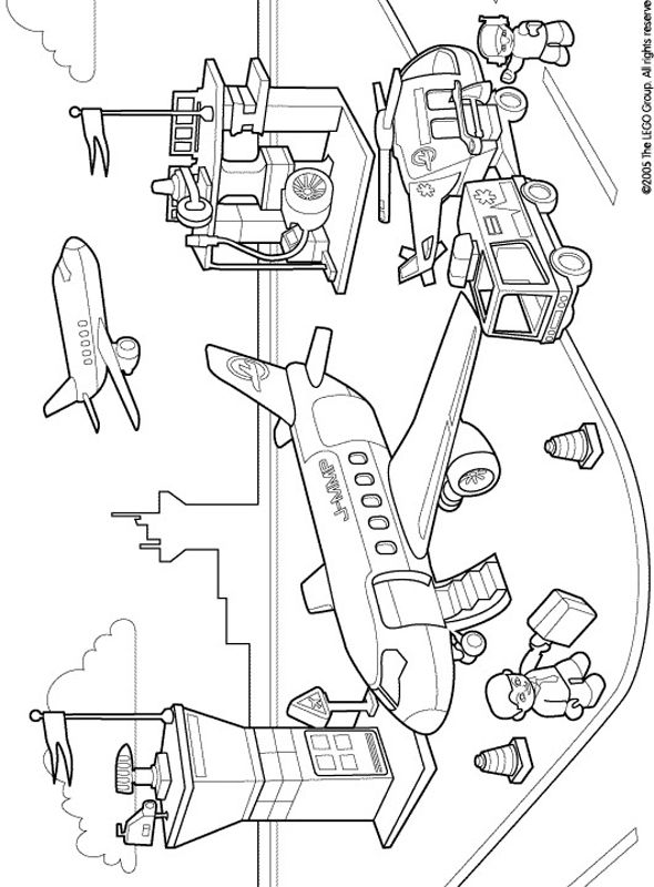 lego duplo coloring pages airport - Lego City Airplane Coloring Pages