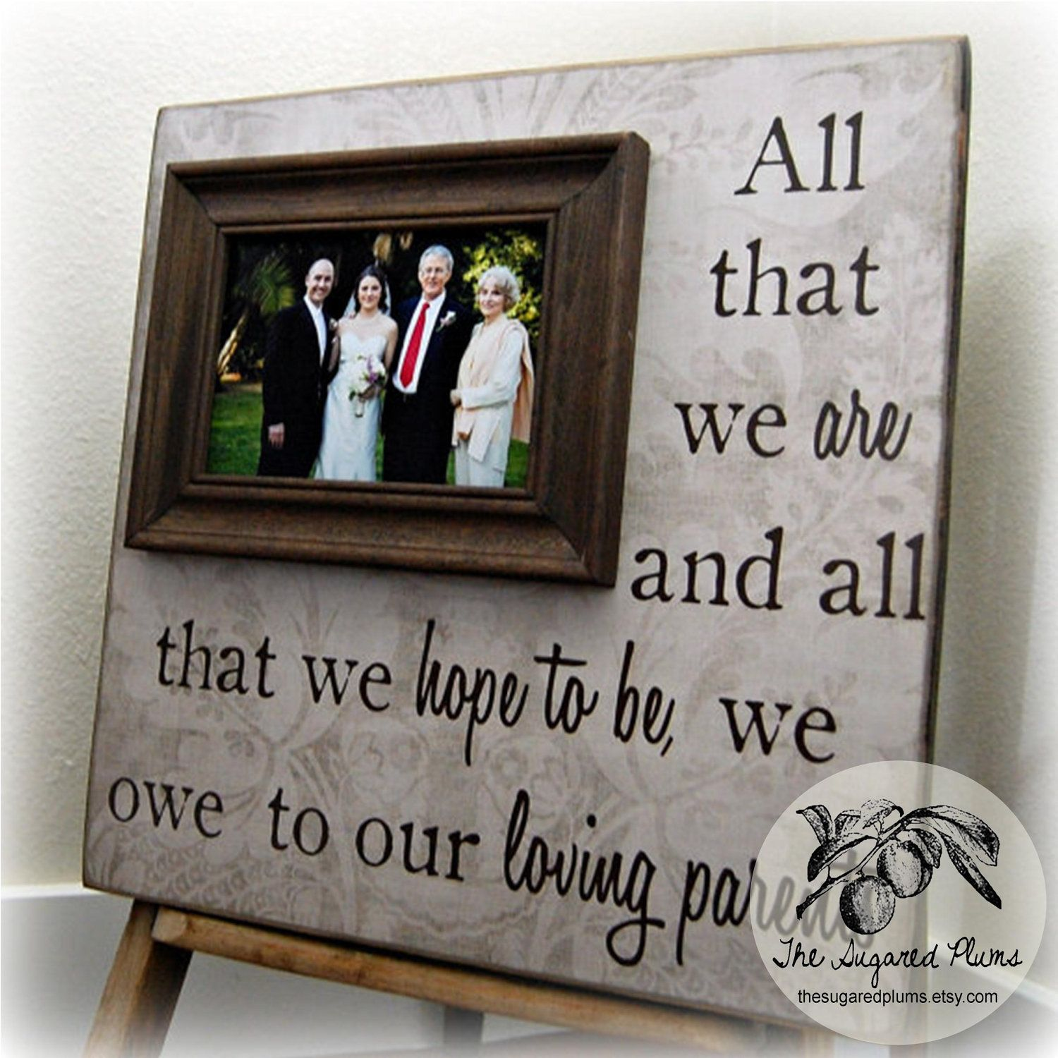 Thank You Wedding Gift Ideas For Parents : gift for parents picture frame personalized parent wedding party gift