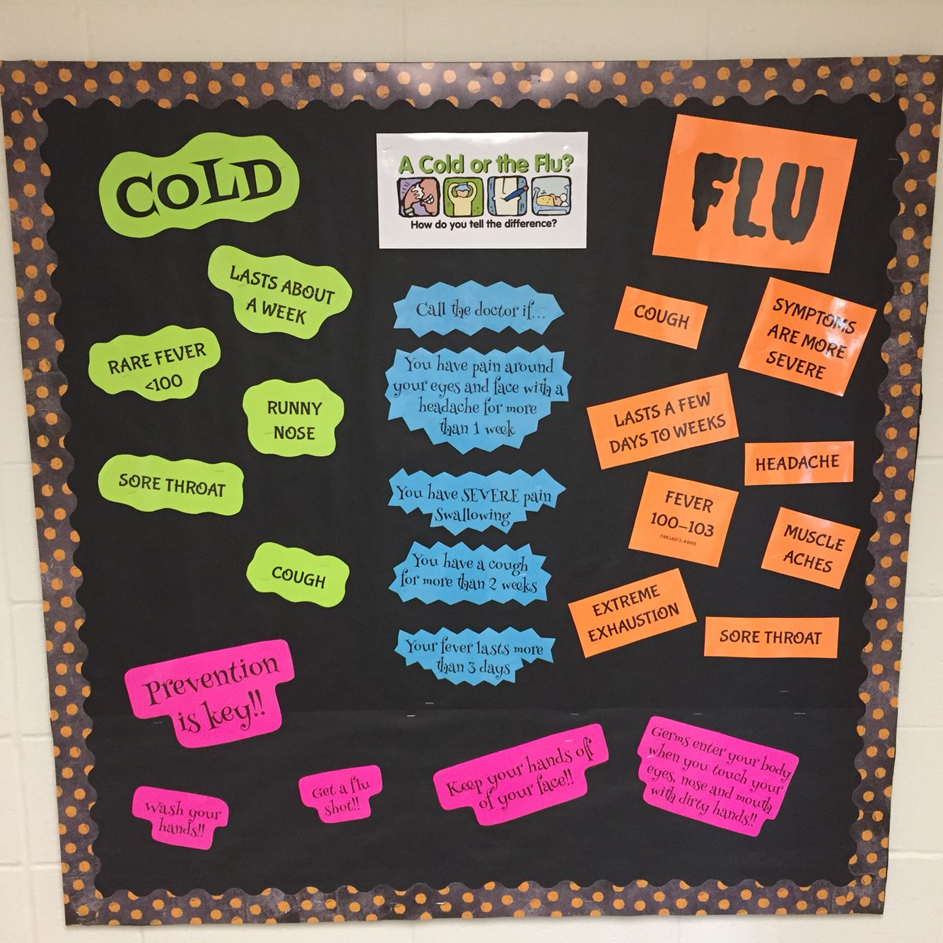 I Made This For My Health Room Bulletin Board Cold Vs Flu