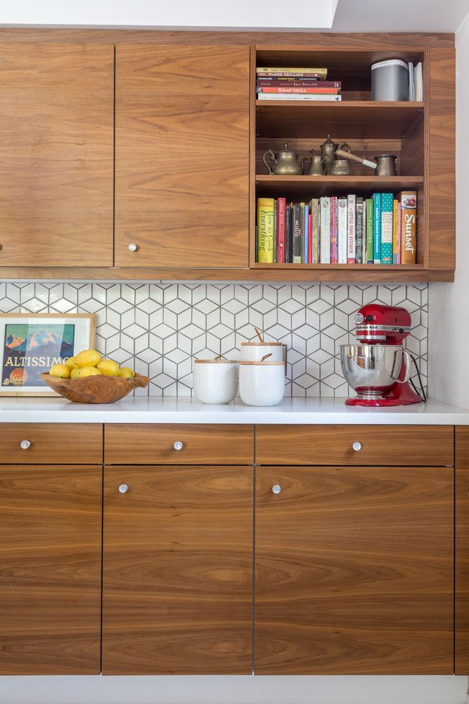 Image Result For Mid Century Wood Cabinets Hexagon Backsplash