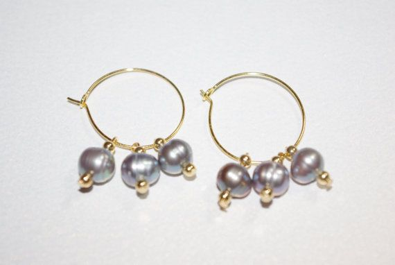 Blue Pearl Gold Hoop Earrings via Etsy