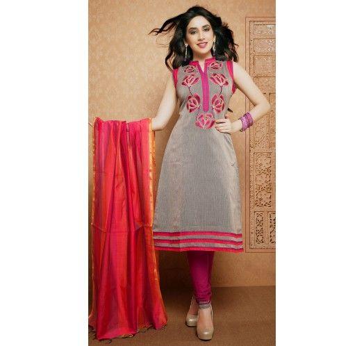 Marvelous Gray Silk Casual #Salwar #Kameez