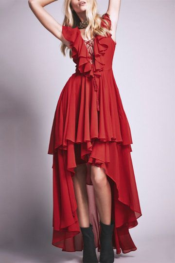 Red Swallow-tail Pattern High Waist Layered Design Maxi Dress for Holiday