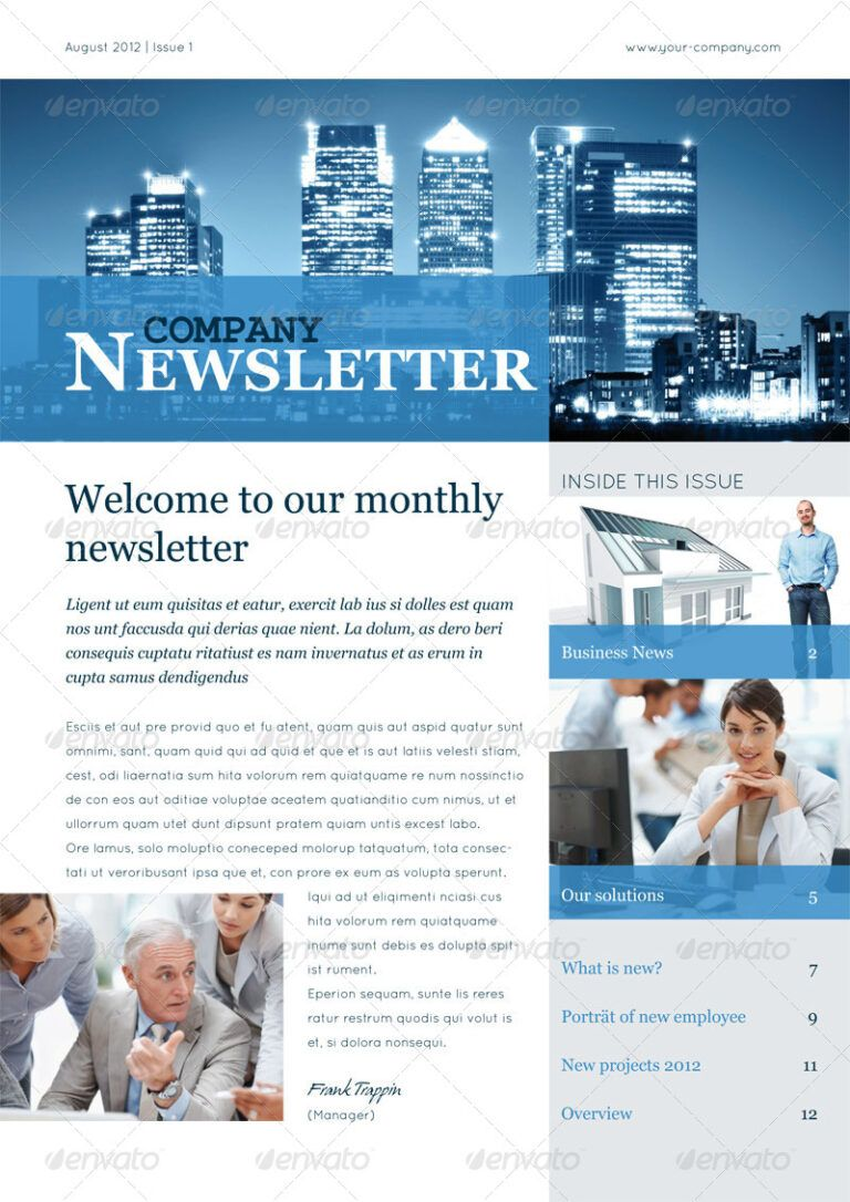 46 Printable Newsletter Templates In Psd Indesign Formats Throughout Free Busines Business Newsletter Templates Newsletter Templates Newspaper Template Word