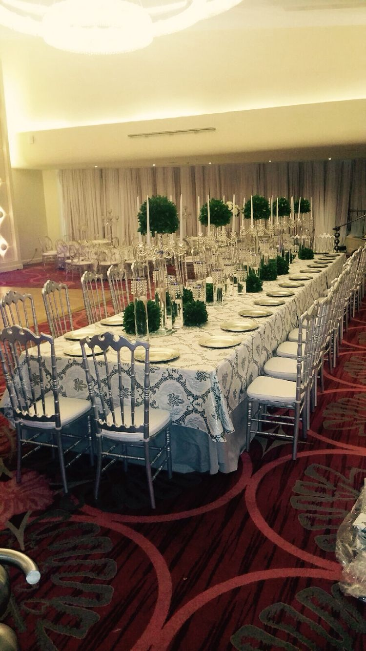 Wedding decorations luxury  Presidential luxury table Prom white u silver  Wedding decorations
