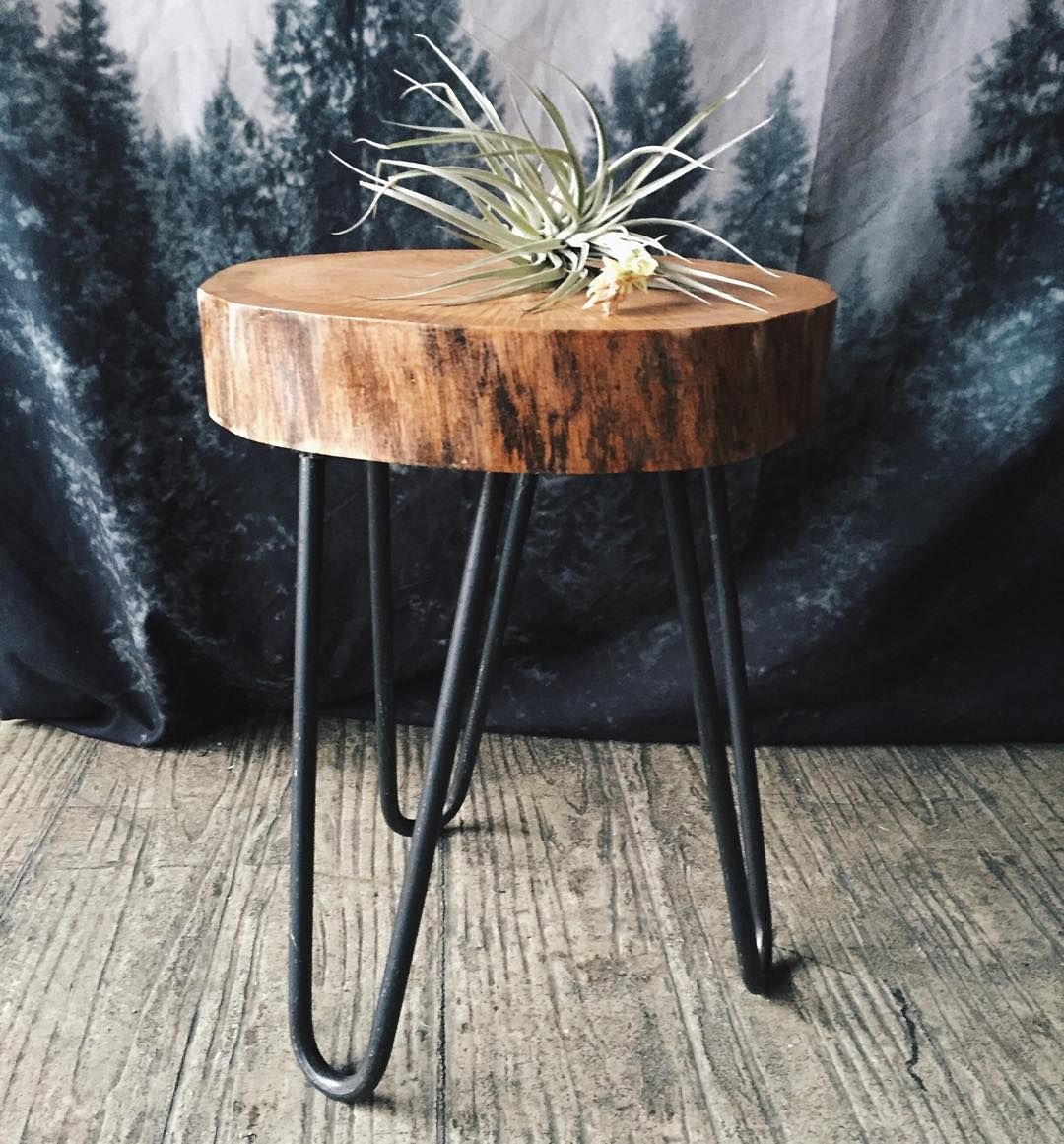 Camp Hunt Camphunt Co Chicago Reclaimed Salvaged Wood Stump Table With Metal Hairpin Leg