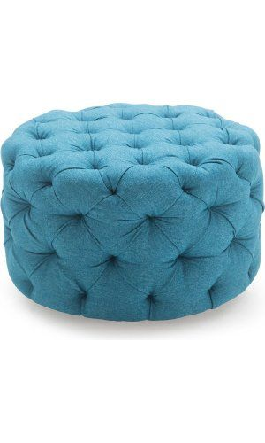 Round Ottoman Blue, This Round Tufted Ottoman Features a Textured ...