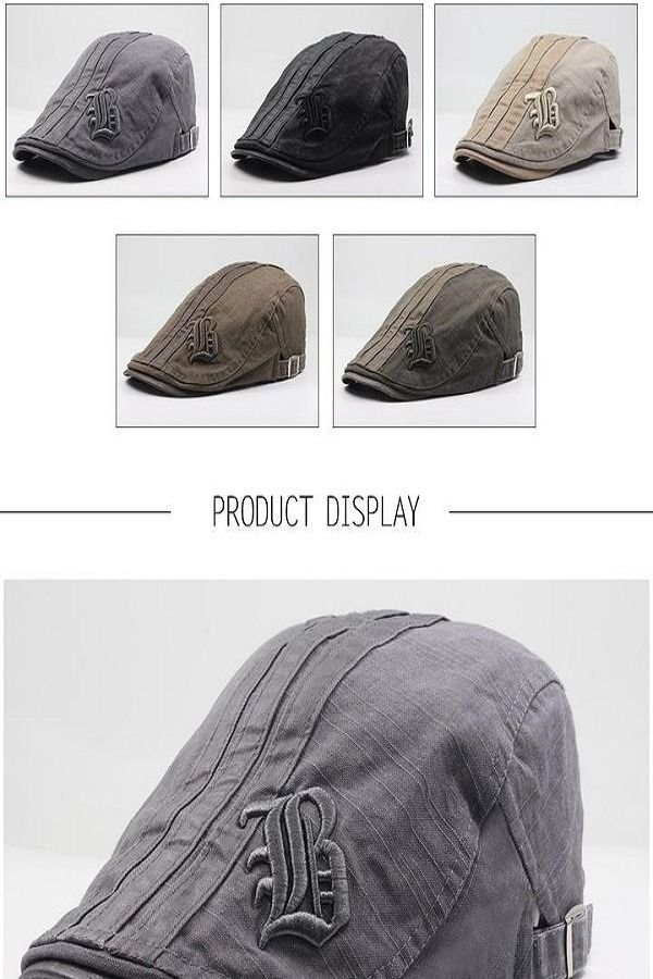 d30366559f5 CNTANG Summer Fashion Embroidery Casual Beret For Men s Adjustable in 2019